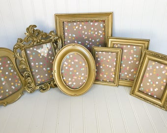 French Country, Golden Picture Frames, Gold Frames, Hollywood Regency, Gold Wedding, Vintage Wedding, Small Picture Frames