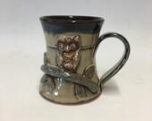 Handmade Pottery / Owl Mug - Coffee cup / Pottery  Ceramics  / Blueberry glaze