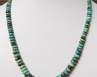 """Native American Vintage Santo Domingo Graduated Turquoise Rondelle Sterling Silver Necklace 18.5"""""""