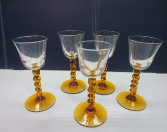 Vintage Liquor Cordial Glasses with Amber Twisted Stem