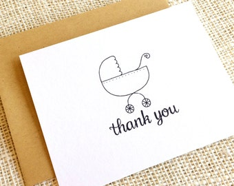 Set of 10 Hand Drawn Thank You Cards with Baby Carriage Design - Baby Shower Thank You Notes in Black or Gray - Boy Girl or Gender Neutral