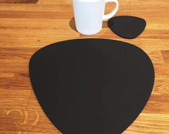 Pebble Shaped Placemats or Placemats & Coasters - in Mocha Brown Matt Finish Acrylic 3mm