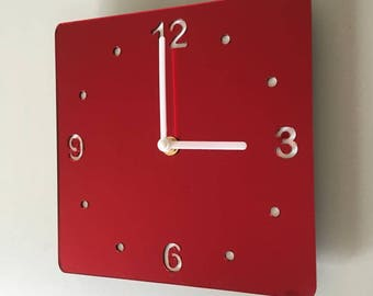 Rounded Corner Square Red Mirror & White Clock - White Acrylic Back, Red Mirror Finish Acrylic with White hands, Silent Sweep Movement