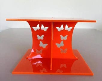 """Butterfly Square Orange Gloss Acrylic Cake Pillars/Cake Separators, for Wedding/Party Cakes 10cm 4"""" High, Size 6"""" 7"""" 8"""" 9"""" 10"""" 11"""" 12"""""""