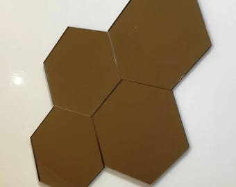 "Bronze Mirrored Acrylic Hexagon Crafting Mosaic & Wall Tiles, Sizes: 1cm to 20cm - 1"" to 7.9"""