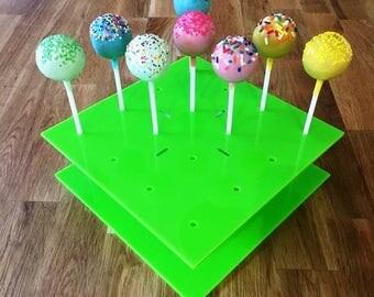 "Square Lime Green Gloss Acrylic Cake Pop Stands - 21cm x 21cm 8"" (16 cakepops) or 30cm x 30cm 12"" (32 cakepops)"