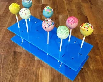 "Rectangle Bright Blue Gloss Acrylic Cake Pop Stands - 31x13cm - 8.5""x5"" (12 cakepops) or 45x16cm 17.5""x 6"" - (36 cakepops)"