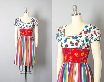 Vintage 1960s Dress   60s Floral Print Striped Cotton Colorful Shelf Bust Full Skirt Sundress (small)