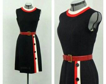 Vintage 60s Mod Little Black Dress, Mod Dress, Striped Dress, Sheath Dress, Sleeveless Dress  Knee Length Dress, Summer Dress