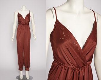 merlot jumpsuit with wrap top vintage 1970s • Revival Vintage Boutique