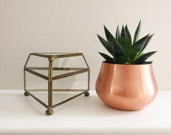 Mid Century Brass and Glass Triangular Curio Case