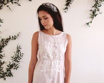 AMALIE - bohemian wedding dress with exquisite embroidered lace, lined in blush pink with spaghetti strap detail