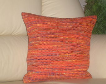 "Red - gold - blue - melange - handmade - throw pillow - cushion - cover - 33 cm x 33 cm (13"" x 13"")"