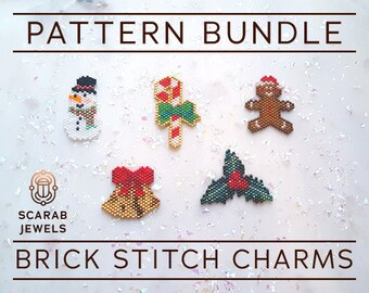 Christmas Set #1 - Brick Stitch Charms   Snowman Candy Cane Bells Holly Gingerbread Man   Peyote - 5 beading patterns   PDF Instant Download