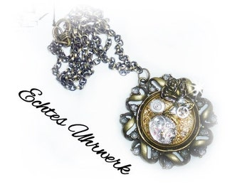 Steampunk clockwork necklace