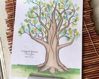Personalized Wedding fingerprint tree guestbook with large oak tree for rustic wedding, personalized wedding fingerprint tree guest sign in
