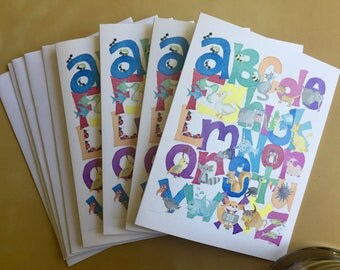 Note Cards Animal Alphabet - Set of 6 - Blank inside - FREE shipping