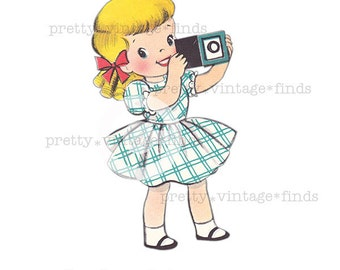 """Vintage """"Girl with a Camera"""" Digital Image - (VC11) Print for Crafting, Fabric Transfers - INSTANT Download"""