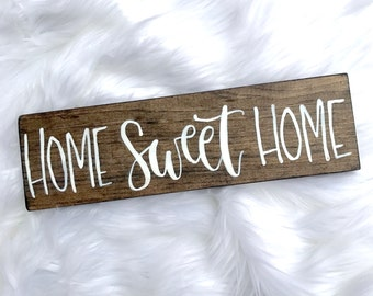 Home Sweet Home // Custom Wood Sign // 12x4 // Hand Lettered //