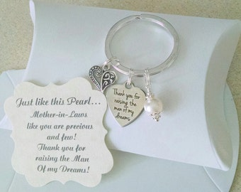 Mother Of The Groom Gift From Bride, Thank You For Raising The Man Of My Dreams, Mother of Groom,  Charm is Size of a Nickel, KEYCHAIN