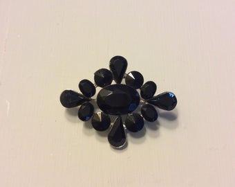 Vintage Black Stone Brooch