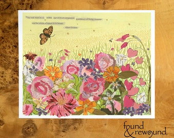 8x10 Art Print of Flowers Blooming, Butterfly, and Inspirational Quote - Paper Collage
