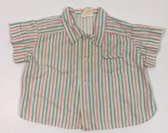 Vintage Girl's Top - 2T - 50's Girl's Shirt - Vintage Striped Shirt - Girl's Vintage Top - Girls Vintage Blouse - 50's 2T - Vintage 2T