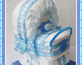 Blue checkered baby carriage stroller out of diapers
