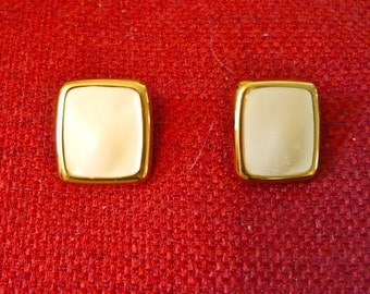 Gold and Cream Enamel Post Earrings, Rectangle for Pierced Ears Excellent Condition