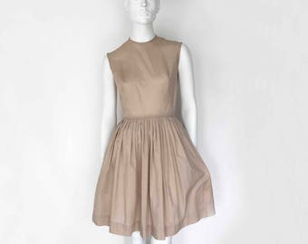 The First Day of School Vintage 50s Dress Khaki Cotton Poplin Fitted Sleeveless Bodice Pleated Flare Above Knee Skirt