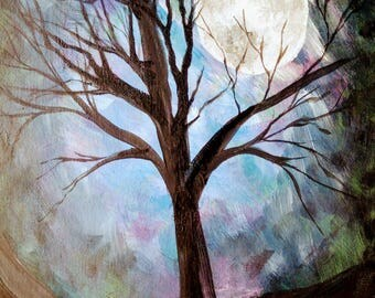 Moon thru the trees (painting with jane) acrylic painting