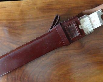 "Vintage Post Versalog 10"" Slide Rule-Hemmi Japan-Sept. 1957 w/Leather case and Belt Snap-Bamboo/Celluloid"