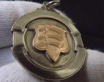 Antique Sterling Silver & 9ct Gold Double Sided Watch Fob Medal by Aleck George 1909