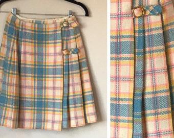 Vintage Bobbi Brooks 70's Plaid Wrap Mini Skirt