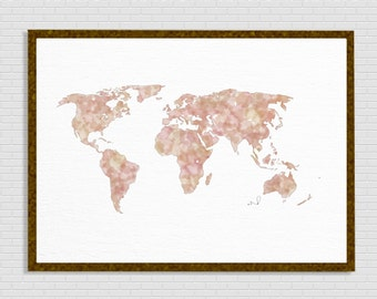 World map watercolor, Wanderlust, world map print, travel map, Rose Gold Map, Watercolor,  Modern Office Prints Home Decor Adventure Awaits