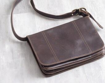 VintageBrown Leather Liz Claiborne Purse / Messenger Bag