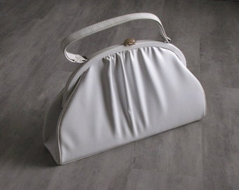 Vintage White Dressy Pleated Purse