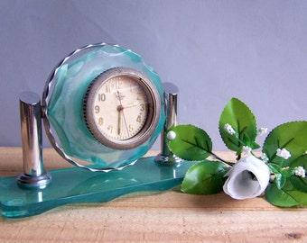 Vintage Soviet Mechanical Tank Clock. USSR the 1960s. Blue Plexiglass and Metal Clock. Desk, Mantel clock.