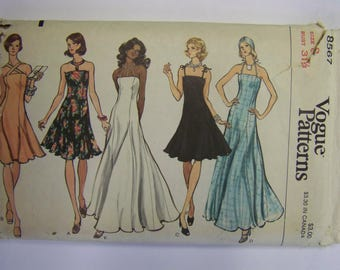 BEAUTIFUL Vintage 1970s Vogue 8567 Misses EVENING GOWN pattern size 8 bust 31 1/2 Complete
