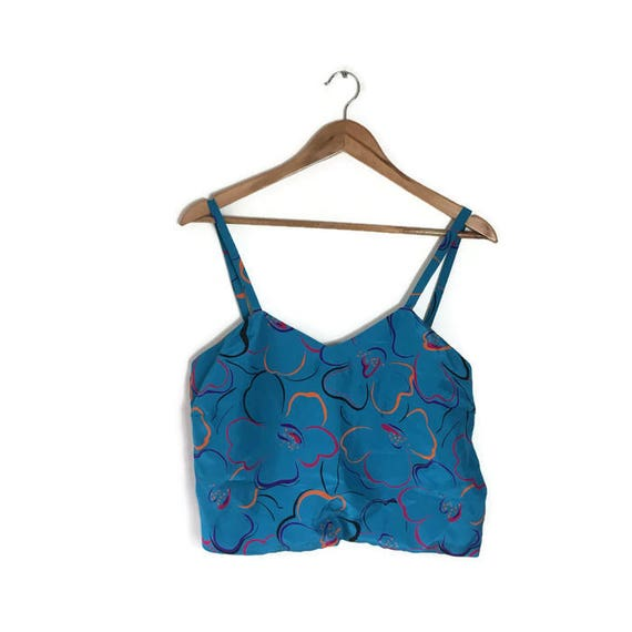 90s crop top / cut off strap top / handmade cropped top / blue floral crop strap top / loose bralet top / blue 90s floral crop top
