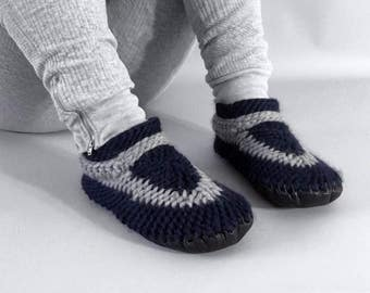 Funky Crocheted Slippers with Leather Soles Most Popular Item Knitted Wool Slippers for Men or Women, House Shoes, Handmade Crochet Slippers