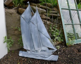 LARGE molded plastic 2-masted sailboat wall plaque