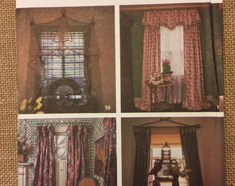 Uncut drapery curtain and valance window treatment pattern Simplicity 7486 - 1991