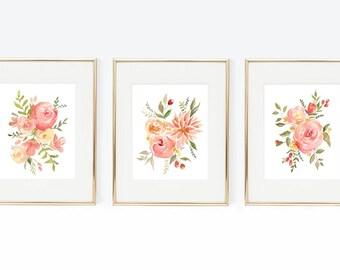 Springtime Flower Arrangement Trio Pack, Watercolor Flowers, Watercolor Florals