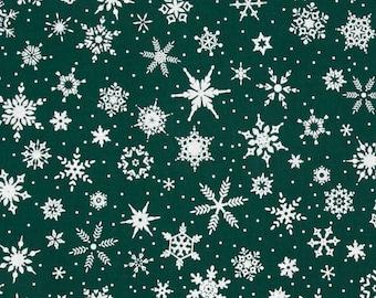 White Christmas Village Retro Dark Green with Snowflakes Patrick Lose Christmas Fabric BTY