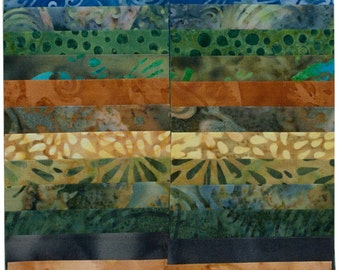 "Island Batik Lake Life Green Brown Gold Batiks Jelly Roll Strips Pack 40 2.5"" Strips of Fabric"