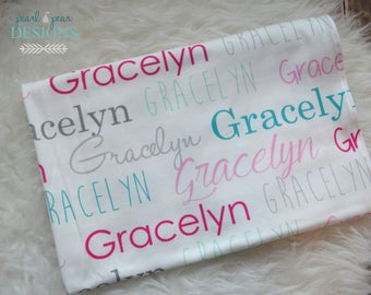 Personalized swaddle blanket: baby and toddler personalized name newborn hospital gift baby shower gift