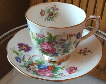 Vintage Roslyn bone china floral cup and saucer