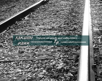 Angled Camera Shot Of Railroad Track, Black And White Photographic Print, Train Decor, Living Room Decor, Den Decor, Locomotive Track Photo