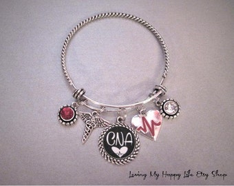 CNA Certified Nursing Assistant Bangle Bracelet Antique Silver Charms Crystals Medical Professions Heartbeat Caduceus Jewelry